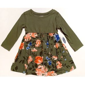 NWT Old Navy Olive Floral Swing Dress 12-18 Months